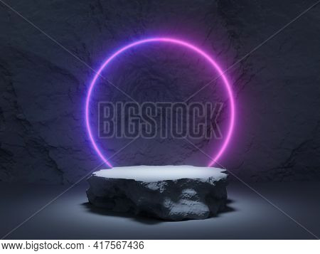 Stone product stand, glowing neon ring and rock in background, 3D illustration, rendering.
