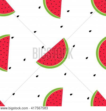 Fruity Seamless Pattern Vector Illustration In Flat Design Slices Of Ripe Watermelon And Seeds On Wh