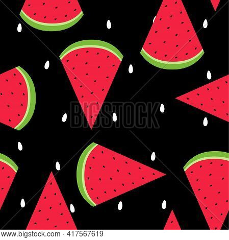Watermelon Seamless Pattern Vector Illustration In Flat Design Ripe Pieces Of Watermelon With White