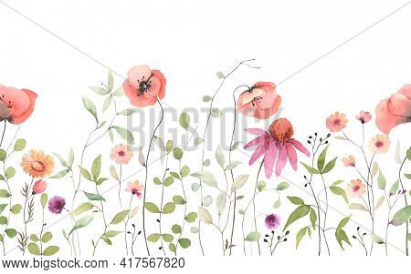 Delicate red poppies, wildflowers and green plants, floral horizontal seamless pattern. Watercolor isolated illustration on white background, summer border, flowers wallpapers, template for banner.
