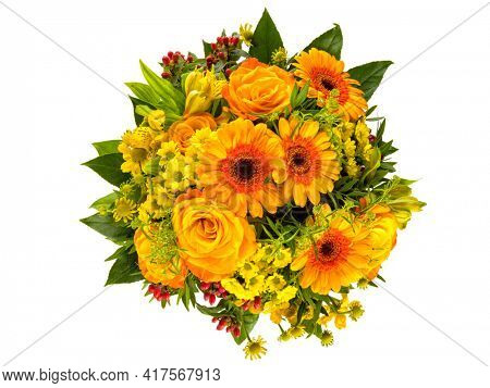 Autumnal flowers bouquet with yellow and orange helenium, peruvian lilies, rose and gerber blossoms, myrtles top view isolated on white background