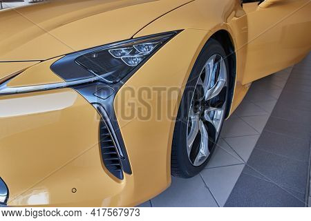 Budapest, Hungary - Circa 2020: Lexus LC 500 coupe front detail. Luxurious grand tourer powerd by an 5 liter V8 petrol engine