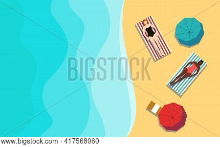 Beach Vacation Vector Illustration With Copy Space Women In Swimsuits Is Resting On Striped Towels O