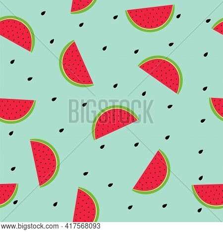 Cute Fruity Seamless Pattern Vector Illustration In Flat Design Slices Of Watermelon And Black Seeds