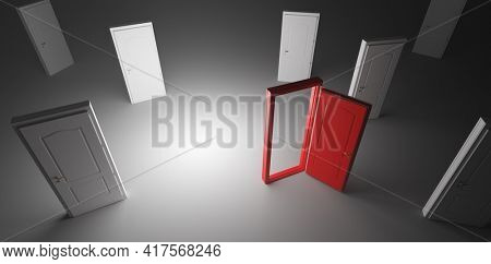 Choose open door. Choise and decision in life concept. Conceptual 3D illustration