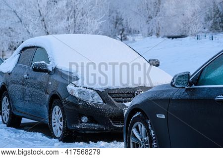 Chehov, Russia - February, 2, 2021: car parking at frosty morning in Chehov, Russia