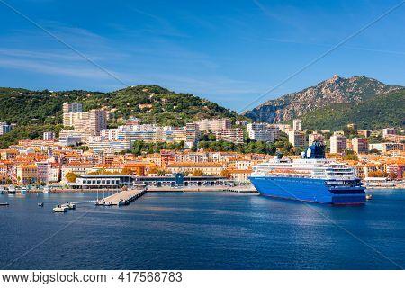 Ajaccio, Corsica, France coastal resorts skyline on the Mediterranean.