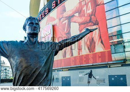 London, United Kingdom- Circa January, 2020: A Picture Of Tony Adam Statue At Emirates Stadium Durin