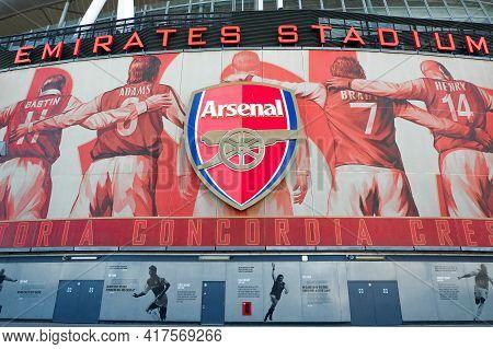 London, United Kingdom- Circa January, 2020: A Picture Of Arsenal Logo At Emirates Stadium During We