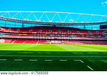 London, United Kingdom- Circa January, 2020: A Low Angle Picture Of Empty Emirates Stadium During We