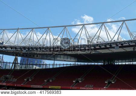 London, United Kingdom- Circa January, 2020: Hearsenalclock Picture Taken During Stadium Tour On W