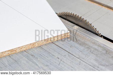 Furniture manufacturer, Chipboard board on a circular saw