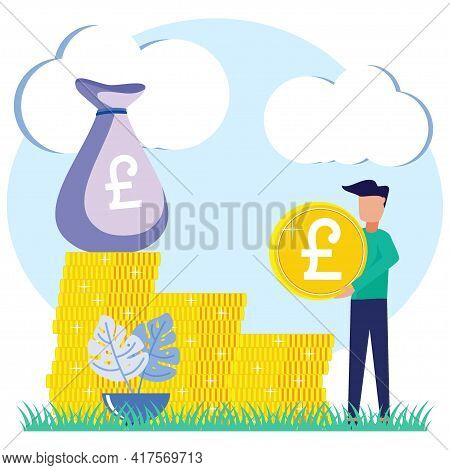 Vector Illustration Of Business Growth Concept, Successful Teamwork, Financing, Big Profits, Gold Co