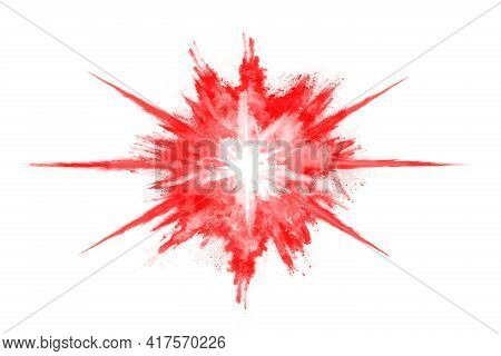 Freeze Motion Of Red Powder Exploding, Isolated On White Background. Abstract Design Of Red Dust Clo