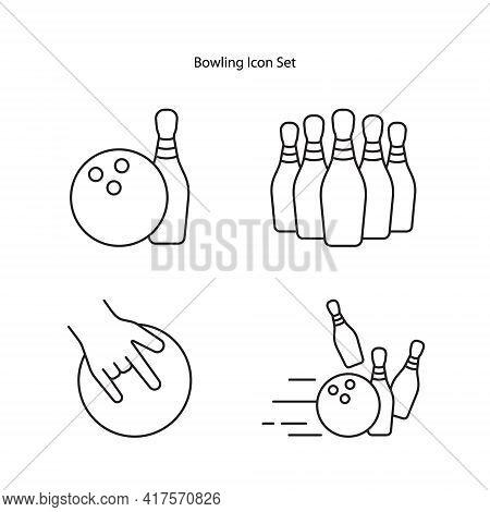 Bowling Icon Set Isolated On White Background. Bowling Icon Thin Line Outline Linear Bowling Symbol