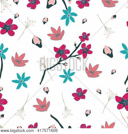 Colorful Blossoming Budding Flowers Seamless Pattern White Print