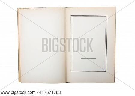 Opened Antique Book Isolated On White Background