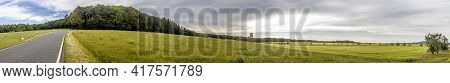 Beautiful Panorama From Green Agricultural Meadows With Trees In Hesse, Germany.