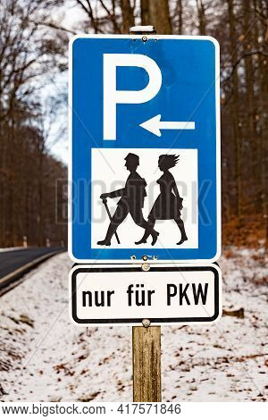 Traffic Sign Hikers Parking In Germany On A Cold Winter Day