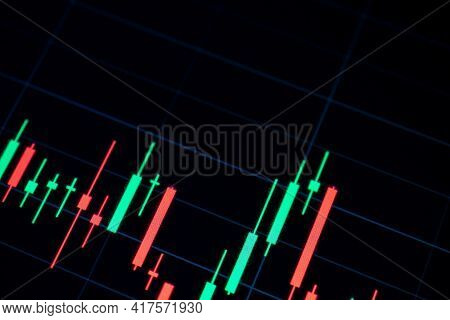 Charts Graphs. Financial Chart, Stock Analysis Data For Business Background In Digital Screen. Graph