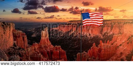American National Flag Overlay. View Of The Beautiful American Canyon Landscape. Dramatic Colorful S