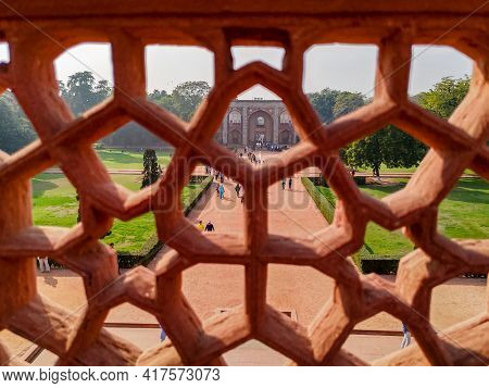 Delhi India, Humayun's Tomb. A Long View Of The Tourist Entering From The Balcony Of Humayun's Tomb.
