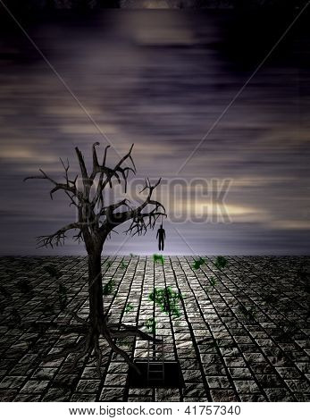 Hanging Man in Surreal Scene