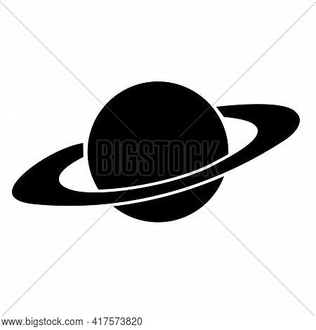 Saturn Icon On White Background. Flat Style. Galaxy Space Sign. Planet Symbol. Planet Saturn With Pl