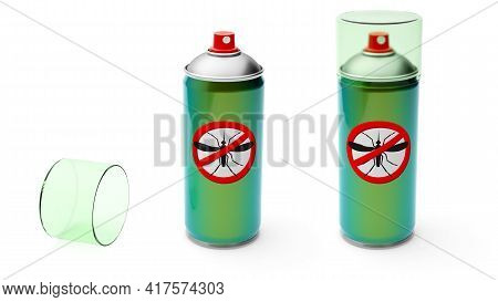 Mosquito Spray. Insect Protection. Aerosol Metal Can Of Green Color. Isolated On White Background. 3