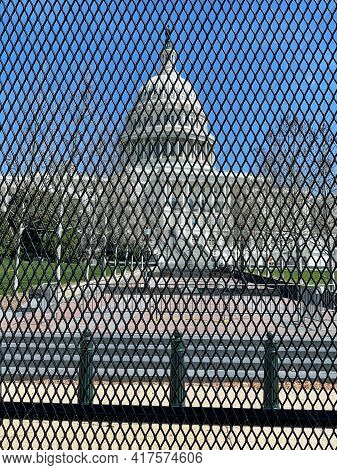 Washington, Dc - Apr 3 2021: New Security And Fencing In Place At The Nation's Capitol After The Bui