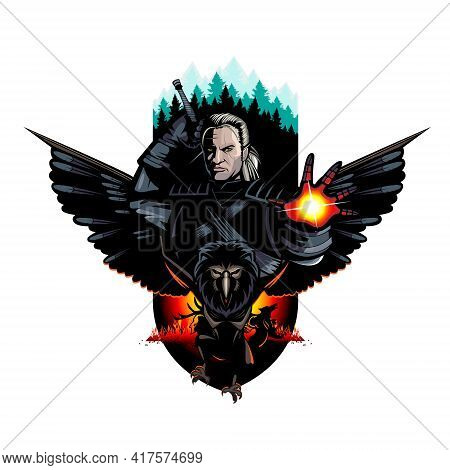 Warrior And The Beasts Can Be As Human Or Elven Warrior Look Editable Vector Illustration