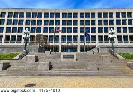 Washington, Dc - Apr 3, 2021: The Frances Perkins Department Of Labor Building. It Is The Headquarte