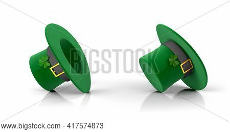 St. Patrick's Day Set. Green Leprechaun Hat With Clover And Inverted Upside Down. Isolated On White