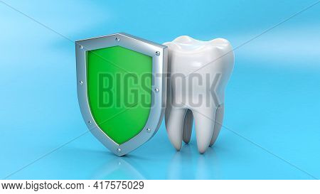 Tooth And Shield. Teeth Protection. 3d Render.