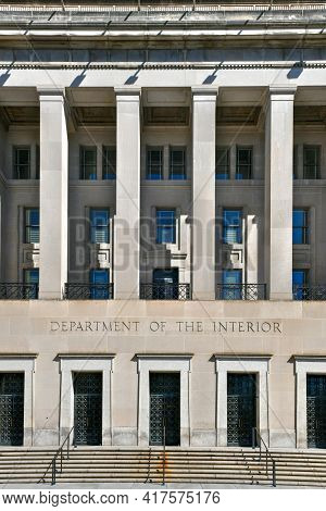 Washington, Dc - Apr 3, 2021: Stewart Lee Udal Building, The Main Building Of The Us Department Of T