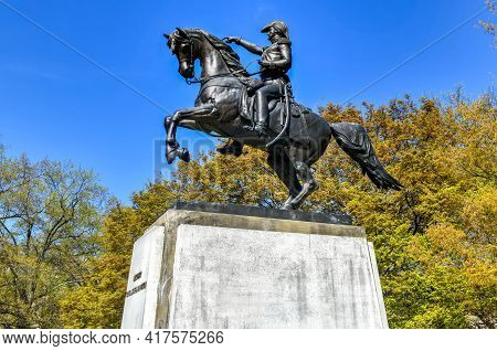 Washington, Dc - Apr 3, 2021: Statue Of General Jose De San Martin In Washington Dc.