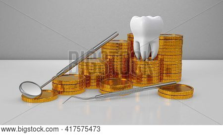 Gold Coins Money And A Tooth With A Dental Mirror. Expensive Dental Treatment. Dental Insurance. 3d