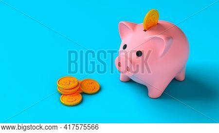 Piggy Bank With Coins On A Blue Background. Saving Money. Coins Fall Into The Piggy Bank. 3d Render.