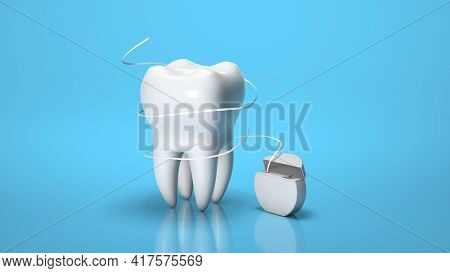 Dental Floss. Flossing Your Teeth. Tooth And Dental Floss On A Blue Background. 3d Render.