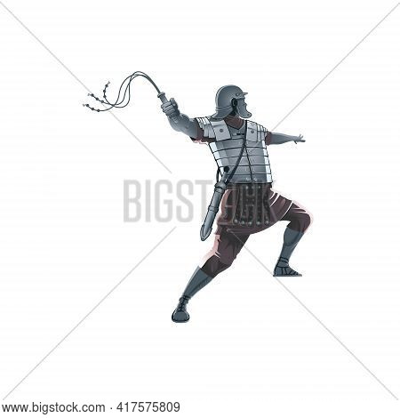 Roman Soldier Holding Scourge Whiplash Vector Illustration For Commercial Use.