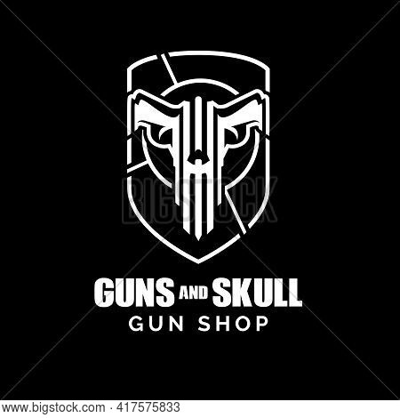 Guns And Skull Concept A Unique And Strong Symbol Vector. Can Be Used For Tshirt Print, Gun Shop, Te