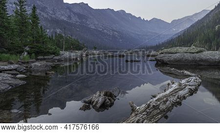 A Smoky, Hazy, Early Morning At Mills Lake In Rocky Mountain National Park