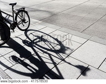 bicycle shadow on the road