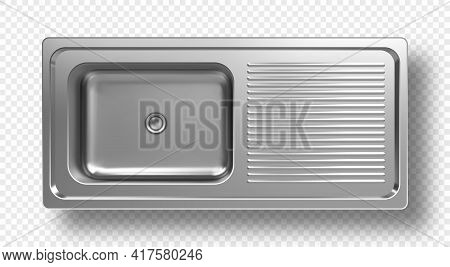 Stainless Steel Sink Top View 3d Mockup. Kitchen Metal Washbasin With Right Side Place For Clean Dis