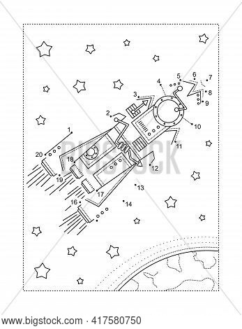 Rocket Or Spaceship Connect The Dots Full-page Picture Puzzle And Coloring Page