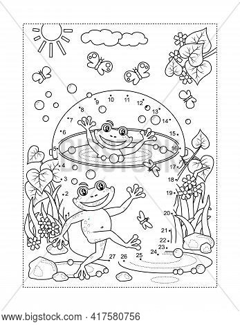 Frogs In A Bucket Connect The Dots Full-page Picture Puzzle And Coloring Page