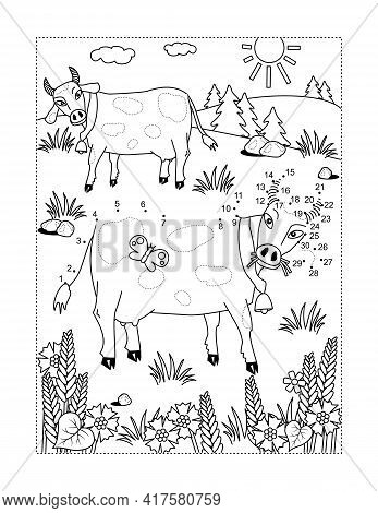 Connect The Dots Full-page Picture Puzzle And Coloring Page With Milk Cows