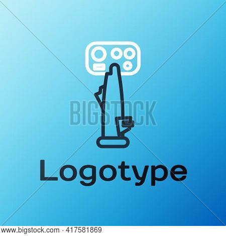 Line Aircraft Steering Helm Icon Isolated On Blue Background. Aircraft Control Wheel. Colorful Outli
