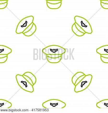 Line Pilot Hat Icon Isolated Seamless Pattern On White Background. Vector Illustration