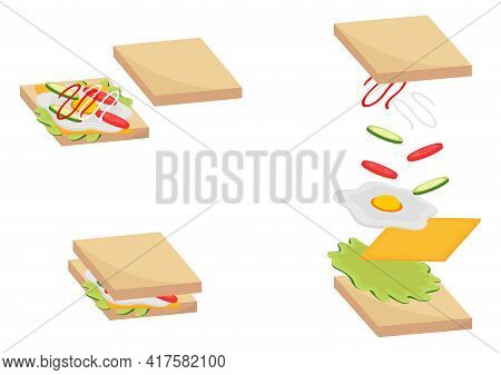 Sandwich Illustration With Three Types Of Outer Corner Sandwich Design, Inner Sandwich And Fill In T